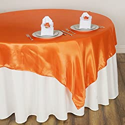 BalsaCircle 5 pcs 72x72-Inch Orange Satin Table Overlays - Wedding Reception Party Catering Table Linens Decorations