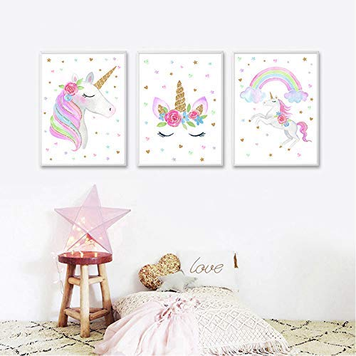 "EVAIL Unicorn Wall Posters Rainbow Unicorn Canvas Wall Art Prints Painting Decoration Pictures Set of 3 (8""x11.8"" for Girls Kids Bedroom Nursery Wall Decor Gift,No Frame"