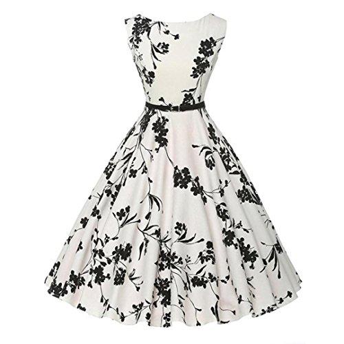 Rtro de Robe de Vintage 1950's Lenfesh Imprimes Audrey Hepburn Fleurs avec Manches Bal Ceinture A Soire sans Robe 5gOfq