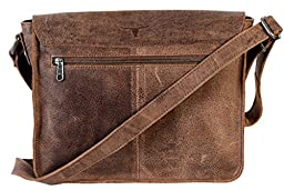 UF Twin Pocket Leather Messenger Bag Leather Satchel Laptop Bag Macbook Bag Purse Handbag Shoulder Bag Crossbody School / College Bag
