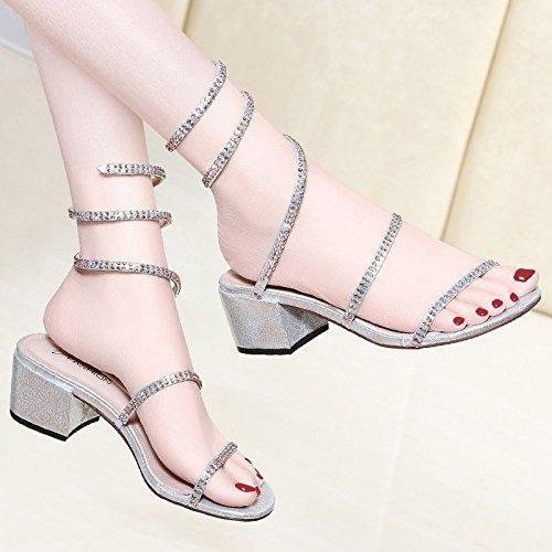 Jqdyl Tacones Sandalias de Diamantes de Imitación Femenina Verano Nueva Moda con Tacones Altos Zapatos de Mujer, 38, Plata 38|Silver