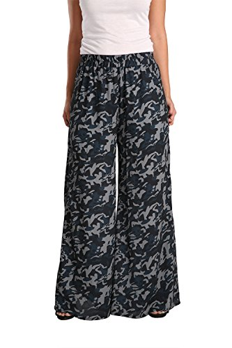 Standards & Practices Women's Navy Woven Chiffon Camo Elastic Waist Palazzo Pant Size Large
