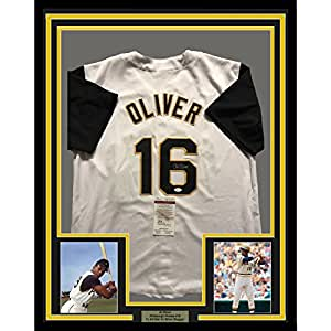 Framed Autographed/Signed Al Oliver 33x42 Pittsburgh Pirates White Baseball Jersey JSA COA