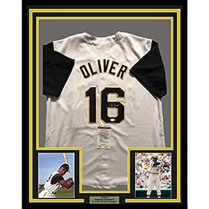 Framed Autographed/Signed Al Oliver 33x42 Pittsburgh Pirates White Baseball Jersey JSA COA