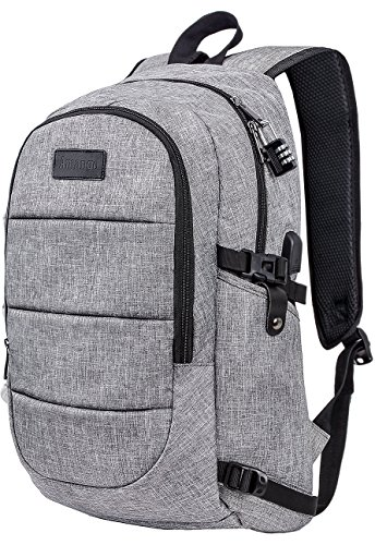 Cheap Laptop Backpack,Business Travel Laptop Backpack with USB Charging Port,Water Resistant High School Student Computer Bookbag Fits Under 17 Inch Laptop-Grey