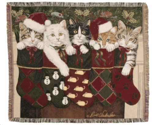 Simply Home Christmas Kittens Cat Tapestry Throw Blanket Made in The USA
