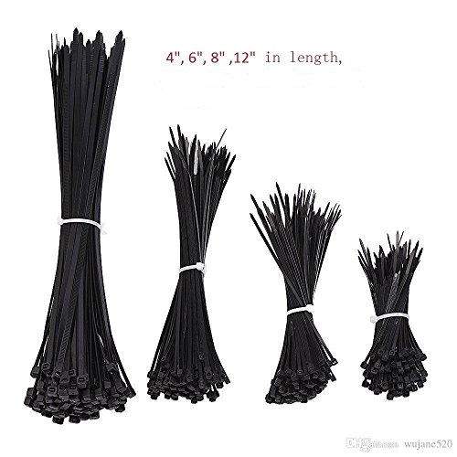 4' Wire Pull (Gfortune 400pcs Black Nylon Self-Lock Heavy Duty Standard Cable Zip Ties 4'', 6'', 8'' 10'' Straps Wire Tie Kit Fasten Self Locking Multi-purpose for home and Industry)