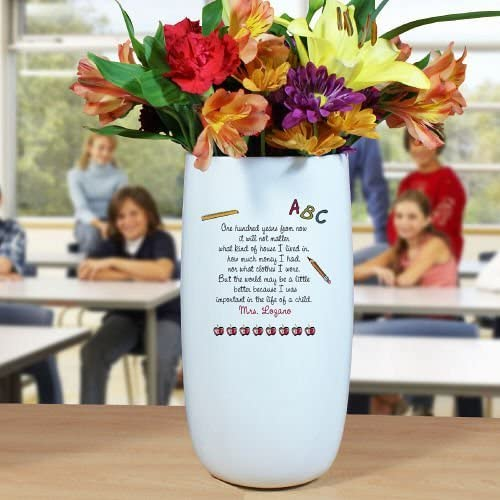 GiftsForYouNow Personalized Ceramic Teacher Vase, 10 H x 4 W, Ceramic, Chip Resistant