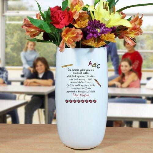 GiftsForYouNow Personalized Ceramic Teacher Vase, 10