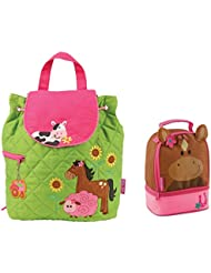 Stephen Joseph Quilted Girl Farm Animals Backpack and Horse Lunch Pal Combo