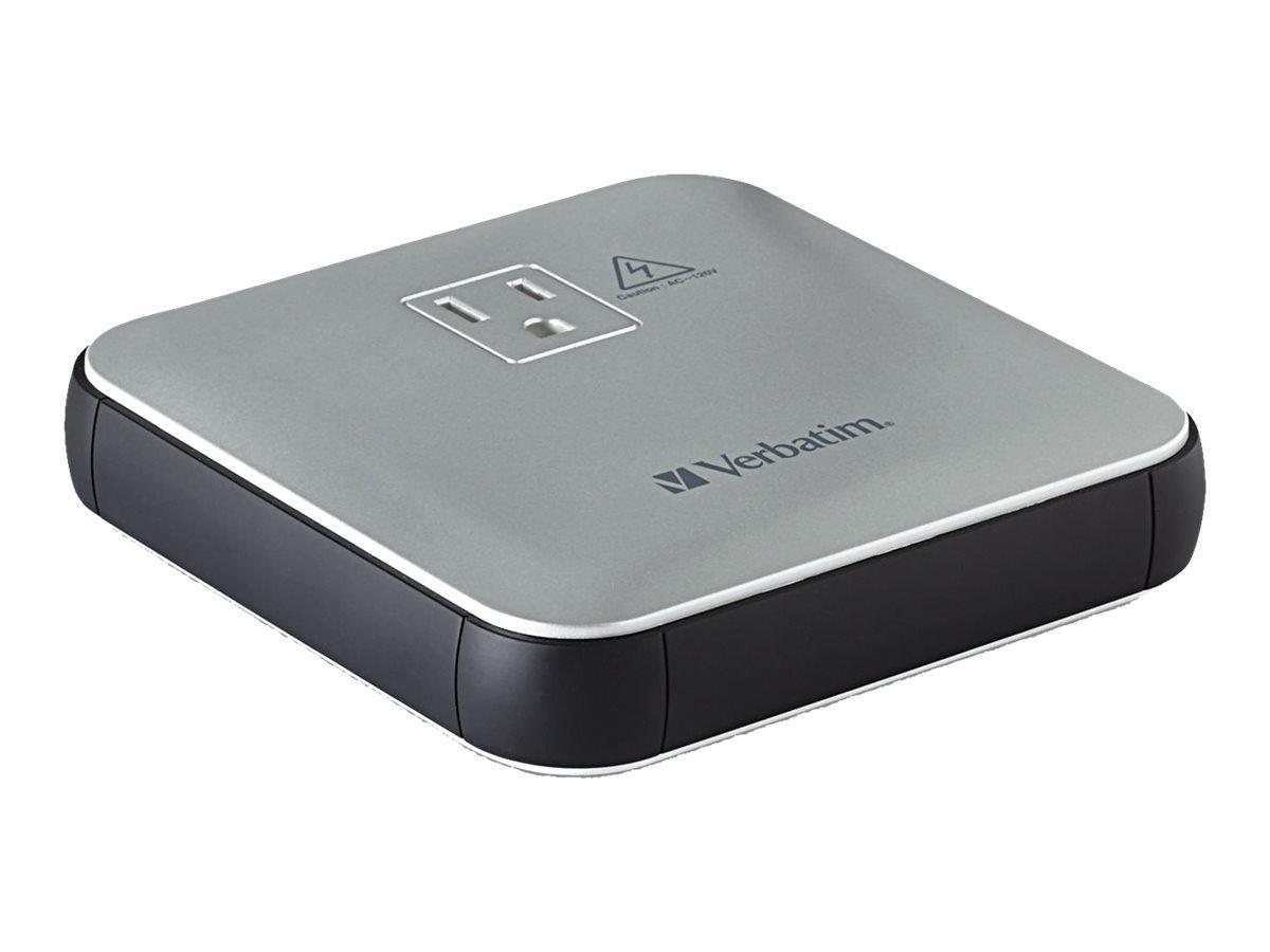 Verbatim 12,000mAh AC USB Portable Power Outlet, Silver 98608