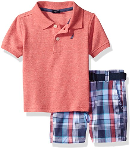 Nautica Baby Boys Solid Polo with Pattern Pull on Short Set,Coral,24 Months