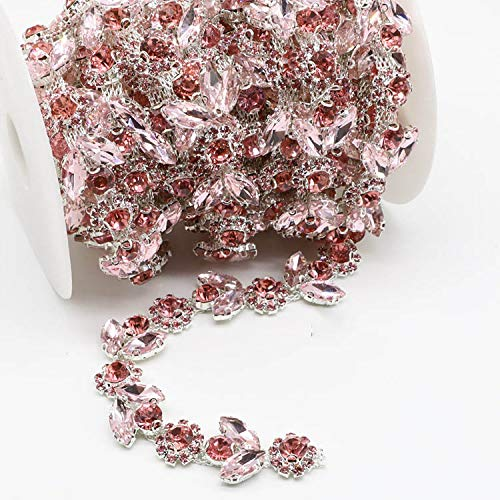 - 1Yard Gold AB Sunflowers Leaves Crystal Rhinestone Chain Trim for DIY Clothes Accessory Dress Belts Headpiece Jewelry Making (Pink)