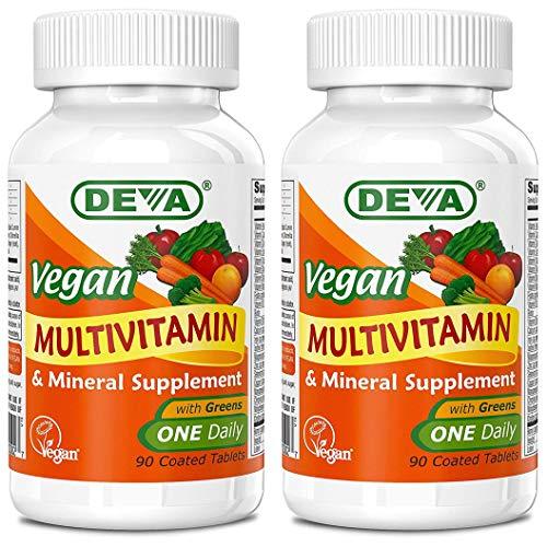 Deva Vegan Multivitamin & Mineral Supplement – Vegan Formula with Green Whole Foods, Veggies, and Herbs – High Potency…