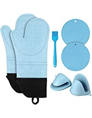 Extra Long 14.7inch Silicone Oven Mitts and Pot Holders Pack of 7, with Mini Pinch Mitts, Hot Pads & Oven Gloves Brush for Pot Hot, Kitchen Cooking & Barbecue, Heat Resistant and Non-Slip