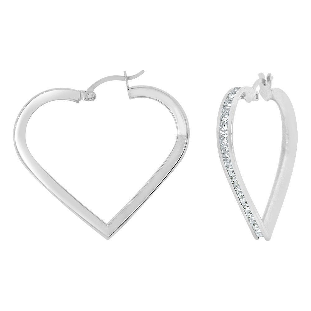 14k Gold White Rhodium, Heart 3mm Channel Set Created CZ Earring 30mm Inner Diameter by GiveMeGold