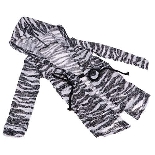 Prettyia Fashion Hoodie Jacket Knitted Sweater for 70cm Uncle BJD Doll Zebra-Stripe