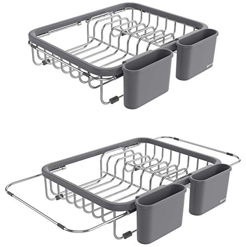 (Shanik Expandable Draining Dish Rack - Over-Sink Dish Drainer, Sponge Rack with Two Utensil Holders. Sit in Sink or On Counter. 14 inches to 20.4 inches.)
