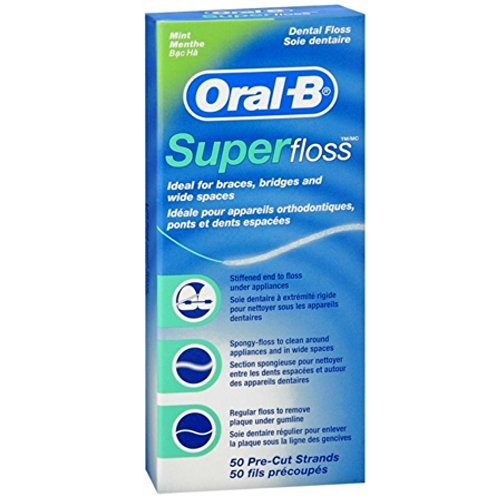 Oral-B Super Floss Mint Dental Floss Pre-Cut Strands 50 e...