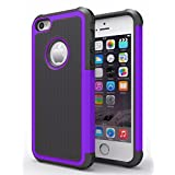 iPhone 6/6s Plus Case,Hankuke Hybrid Dual Layer Full Body Shock Proof Protcetive Armor Defender Cover Case for iPhone 6/6S Plus (5.5 inch screen) - black+purple