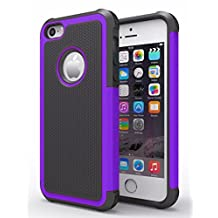 iPhone 6/6s Case,Hankuke Hybrid Dual Layer Full Body Shock Proof Protcetive Armor Defender Cover Case for iPhone 6/6S (4.7 inch screen) - black+purple