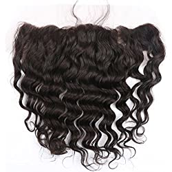 Brazilian Hair Deep Wave Lace Frontal Closure 13x4 Free Part with Baby Hair Bleached Knots Natural Color 16 Inch