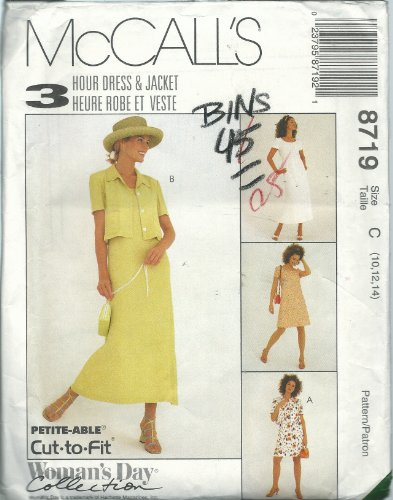 McCall's Pattern 8719 Woman's Day Collection Misses' 3 Hour Dress & Jacket, Size C (10-12-14)