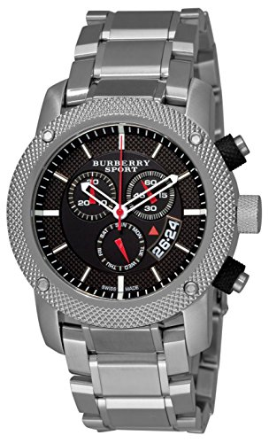 Burberry Sport Swiss Chronograph Watch Unisex Men Stainless Steel Black Date Dial BU7702