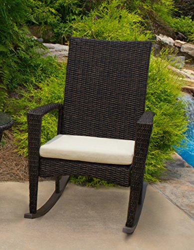 Tortuga Outdoor Bayview Wicker Rocking Chair (Brown Pecan) - Comfortable Contemporary Patio and Outdoor Rocking Chair with (Pecan Round Chair)