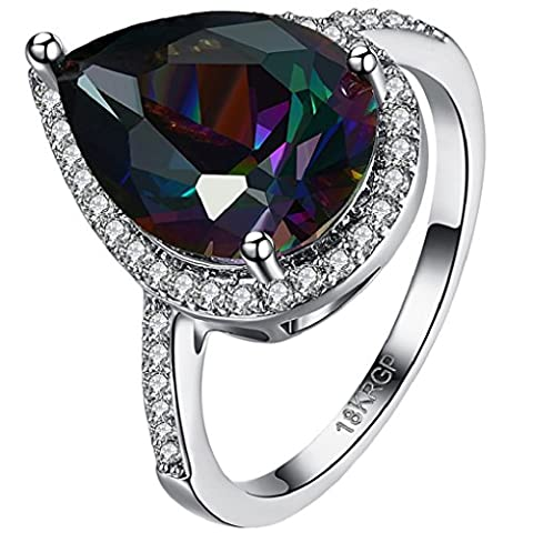 FENDINA Womens Teardrop Engagement Ring Luxurious 18k White Gold Plated Rainbow Dark Sapphire Gemstone Ring Rhinestone Crystal Solitaire Anniversary Promise Rings - Designers Waterford Crystal