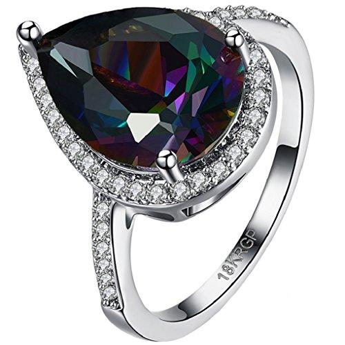 FENDINA Womens Teardrop Engagement Ring Luxurious 18k White Gold Plated Rainbow Dark Sapphire Gemstone Ring Rhinestone Crystal Solitaire Anniversary Promise Rings (Dark Rainbow Rings)