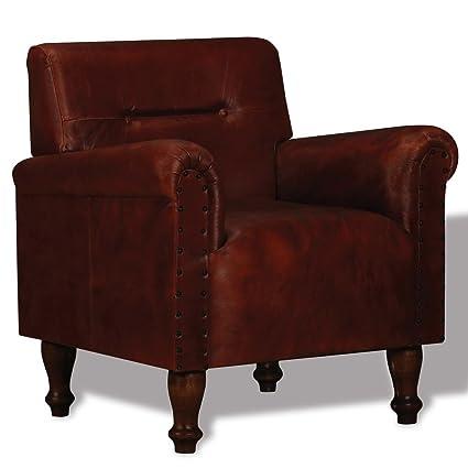 vidaXL Sillón de Piel Cuero Original de Cabra Color Marrón Medidas 69x55x75 cm