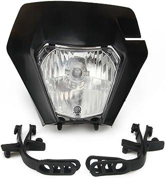 Black Streetfighter Front Lights Motorcycle Headlight Bulbs Fit Harley Honda KTM