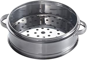 HEMOTON Stainless Steel Steamer Steamed Buns Steamer Box Steamer with Handle Traditional Steam Basket for Home Kitchen (22cm with Ear)