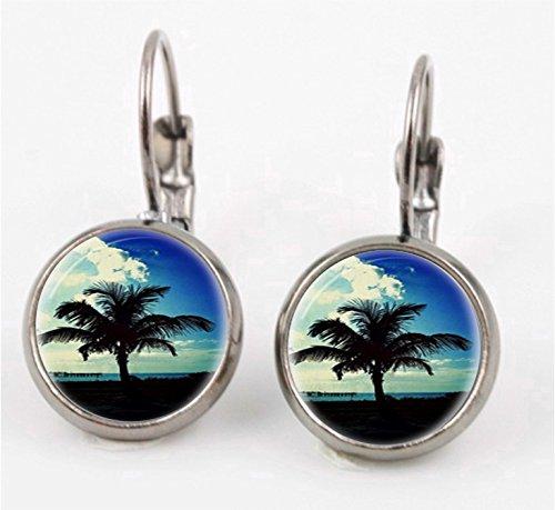 - Palm Tree Leverback Earrings
