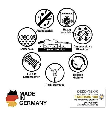 cpt hydrovital Komfortschaum Matratze 140 x 200 x 16 cm - 7 Zonen, H2 /& H3 Rollmatratze H/ärtegrad H2 H3 Made IN Germany 7 Zonen Kaltschaummatratze