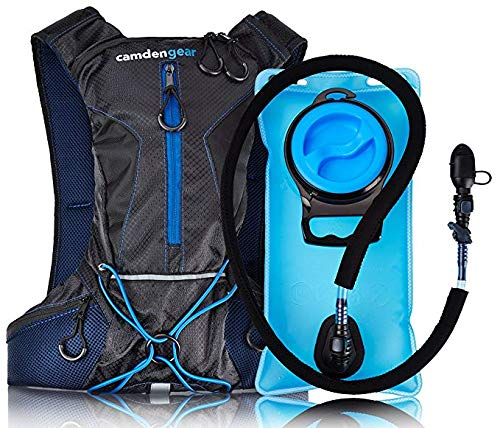 Camden Gear Zeyu Hydration Backpack Running, with 1.5 2L Water Bag Pack Black Blue