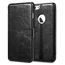 iPhone 6s Plus Case, Benuo [Built-in Slots Series] [Magnetic Snap] Classic Genuine Leather Case, Flip Cover [2 Card Slots] [Ultra Protective] with Stand for Apple iPhone 6 Plus / 6s Plus (Black)