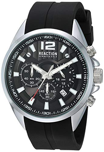Kenneth Cole New York Male Quartz Watch with Silicone Strap, Black, 22 (Model: RK50812001)