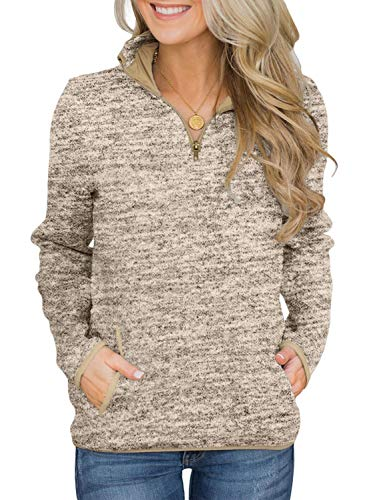 AlvaQ Womens Juniors Fashion Casual Long Sleeve Autumn Winter 1/4 Zip Stand Collar Sweatshirt Pullover Hoods with Pockets Khaki Large
