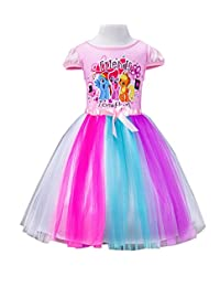 LEMONBABY Little Girls My Little Pony Short Sleeve Princess Birthday Tutu Dress 2y-7y