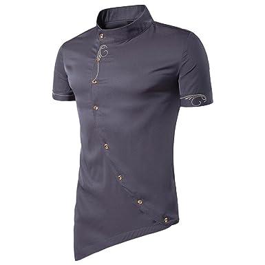 c5008170135ff2 Aliciga 夏服 メンズ シャツ 半袖 無地 タートルネック 斜め ボタン トップス タキシードシャツ ストリート系 人気 通勤