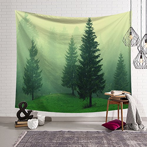 QuanCheng Forest Tapestry Woodland Decor Collection Night and Fog Fantasy Magical Landscape For Bedroom Living Room Home Decor Art Wall Hanging (Green, 59Wx51L)