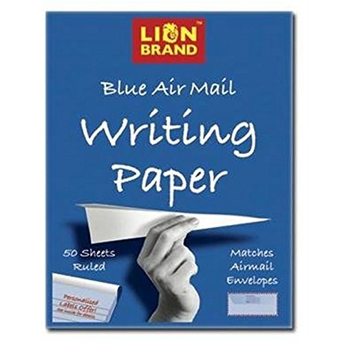 Lion Brand Blue Airmail Writing Paper 178mm x 229mm Pad with 50 Ruled Sheets