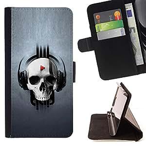 For Samsung Galaxy S6 - Design Skull Music /Funda de piel cubierta de la carpeta Foilo con cierre magn???¡¯????tico/ - Super Marley Shop -