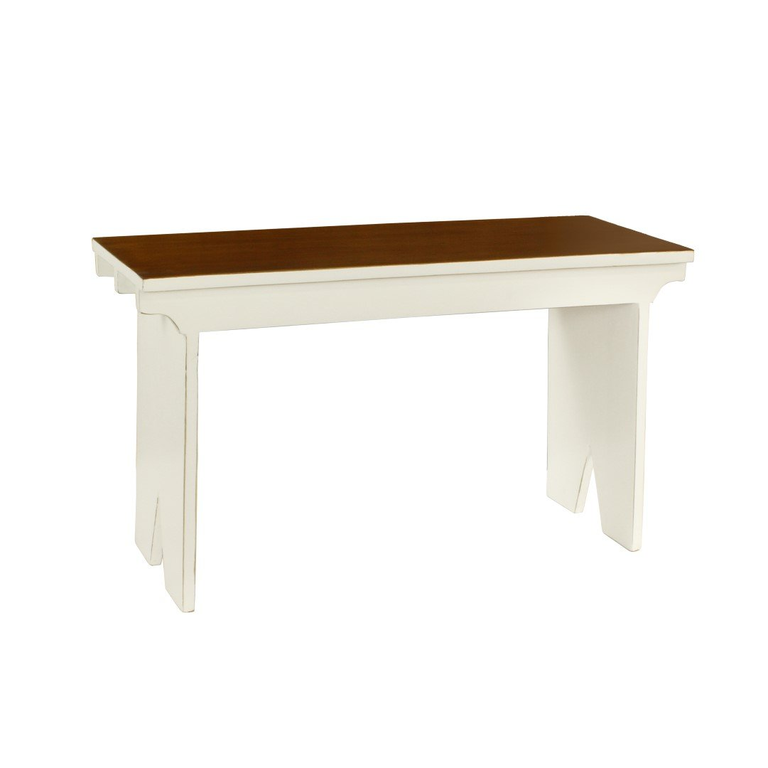 Antique Revival Provence Country Style Bench, White