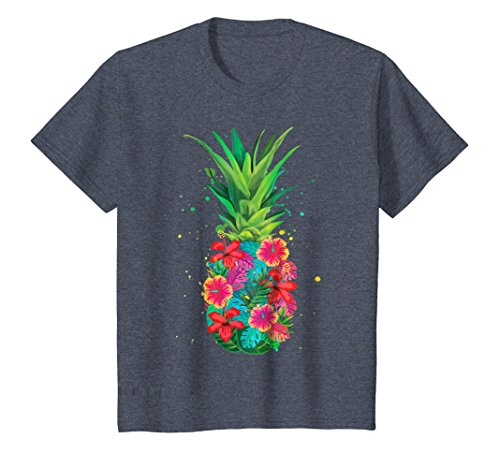 Pineapple Flowers Aloha Hawaii - Vintage Hawaiian Shirt Tee