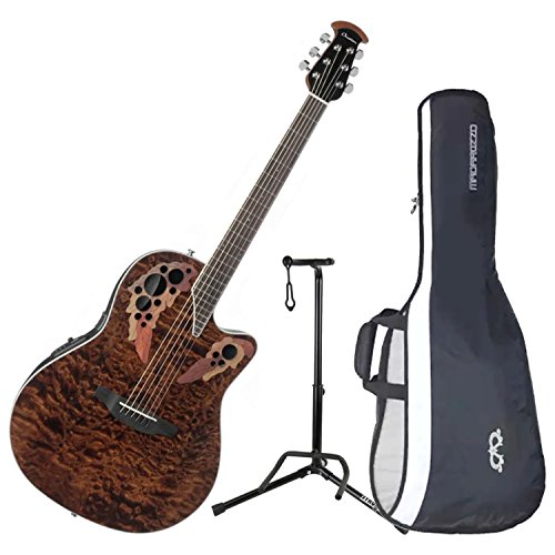 (Ovation CE44P-TGE Celebrity Elite Plus Mid-Depth Tiger Eye A/E Guitar with Gig Bag, Stand, and Tuner)