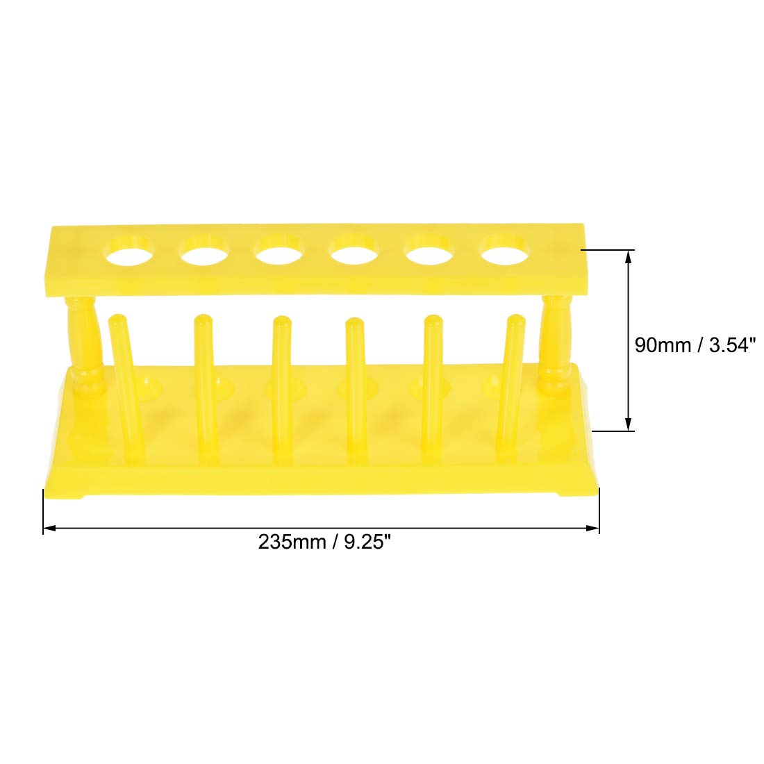 sourcing map Test Tube Holder Rack 6 Wells 6 Pins for 16-20mm Tubes Yellow