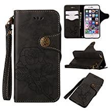 NEXCURIO [Retro Rose] iPhone 6S 6 Wallet Case with Card Holder Folding Kickstand Leather Case Flip Cover for Apple iPhone 6S 6 (4.7-inch) - NEGUH10785 Black